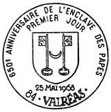 Oblitération 1er jour à Valréas le 25 mai 1968