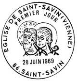 Oblitération 1er jour à Saint-Savin le 28 juin 1969