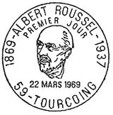 Oblitération 1er jour à Tourcoing le 22 mars 1969