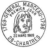Oblitération 1er jour à Chartres le 22 mars 1969