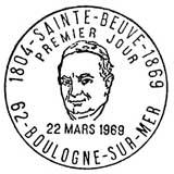 Oblitération 1er jour à Boulogne-sur-Mer le 22 mars 1969