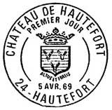 Oblitération 1er jour à Hautefort le 5 avril 1969