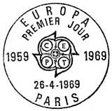 Oblitération 1er jour à Paris et Strasbourg le 26 avril 1969