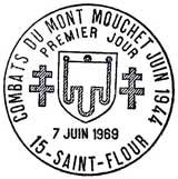 Oblitération 1er jour à St-Flour le 7 juin 1969