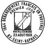 Oblitération 1er jour à St-Raphaël le 23 aout 1969