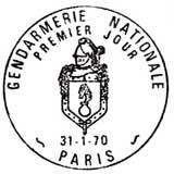 Oblitération 1er jour à Paris le 31 janvier 1970