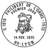 Oblitération 1er jour à Lyon le 14 février 1970