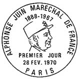 Oblitération 1er jour à Paris le 28 février 1970