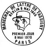 Oblitération 1er jour à Paris le 8 mai 1970