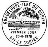 Oblitération 1er jour à Le Gosier (Guadeloupe) le 20 juin 1970