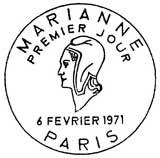 Oblitération 1er jour à Paris le 2 janvier 1971