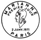 Oblitération 1er jour à Paris le 6 février 1971