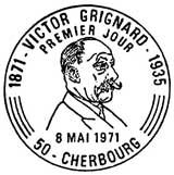 Oblitération 1er jour à Cherbourg et Lyon le 8 mai 1971