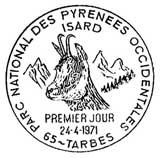 Oblitération 1er jour à Tarbes le 24 avril 1971