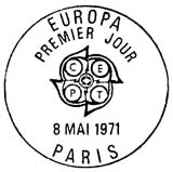 Oblitération 1er jour à Paris et Strasbourg le 8 mai 1971