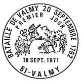 Oblitération 1er jour à Valmy le 18 septembre 1971