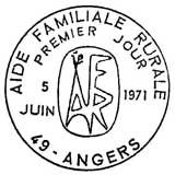 Oblitération 1er jour à Angers le 5 juin 1971