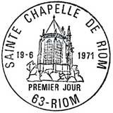 Oblitération 1er jour à Riom le 19 juin 1971