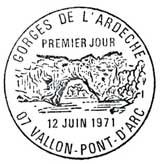 Oblitération 1er jour à Vallon Pont d'Arc le 12 juin 1971