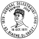 Oblitération 1er jour à Saint-Vaast et Bourg-en-Bresse le 16 octobre 1971
