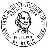 Oblitération 1er jour à Blois le 16 octobre 1971