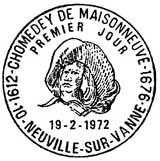 Oblitération 1er jour à Neuville-sur-Vanne le 19 février 1972