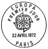Oblitération 1er jour à Paris et Strasbourg le 22 avril 1972