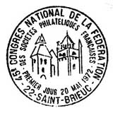 Oblitération 1er jour à Saint-Brieuc le 20 mai 1972