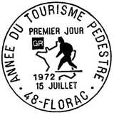 Oblitération 1er jour à Florac le 15 juillet 1972