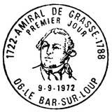 Oblitération 1er jour à Bar-sur-Loup et Toulon le 9 septembre 1972