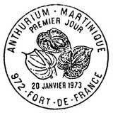 Oblitération 1er jour à Fort-de-France le 20 janvier 1973