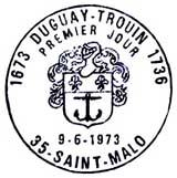 Oblitération 1er jour à Saint-Malo le 9 juin 1973