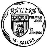 Oblitération 1er jour à Salers le 22 juin 1974