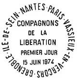 Oblitération 1er jour dans les villes compagnons de la Libération le 22 mai 1974