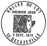 Oblitération 1er jour à Decazeville le 7 septembre 1974