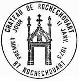 Oblitération 1er jour au Chateau de Rochechouart le 11 janvier 1975