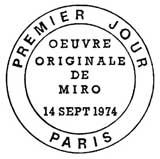 Oblitération 1er jour à Paris le 14 septembre 1974