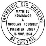 Oblitération 1er jour à Créteil le 16 novembre 1974