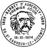 Oblitération 1er jour à Saint-Sauveur-le-Vicomte le 16 novembre 1974
