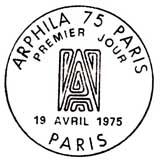 Oblitération 1er jour à Paris le 19 avril 1975