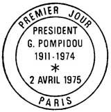 Oblitération 1er jour à Aurillac-Saint-Flour et Paris le 2 avril 1975