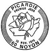 Oblitération 1er jour à Noyon le 15 novembre 1975