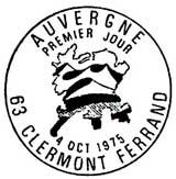 Oblitération 1er jour à Clermont-Ferrant le 4 octobre 1975