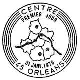 Oblitération 1er jour à Orléans le 31 janvier 1976