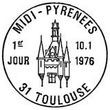 Oblitération 1er jour à Toulouse le 10 janvier 1976