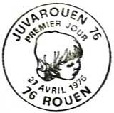 Oblitération 1er jour à Rouen le 27 avril 1976
