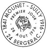 Oblitération 1er jour à Bergerac le 28 aout 1976