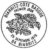 Oblitération 1er jour à Biarritz le 25 septembre 1976