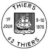 Oblitération 1er jour à Thiers le 9 octobre 1976