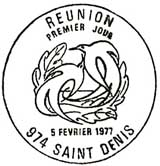 Oblitération 1er jour à Saint-Denis le 5 février 1977